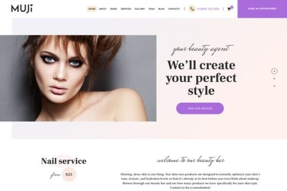 پوسته وردپرس سالن زیبایی و اسپا Muji | Beauty Shop & Spa Salon WordPress Theme