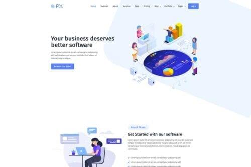 قالب وردپرس لندینگ پیج PXaas - App & Software Landing Page Theme