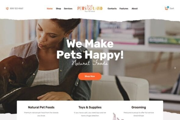 قالب وردپرس پت شاپ Pets Land | Domestic Animals Shop & Veterinary WP