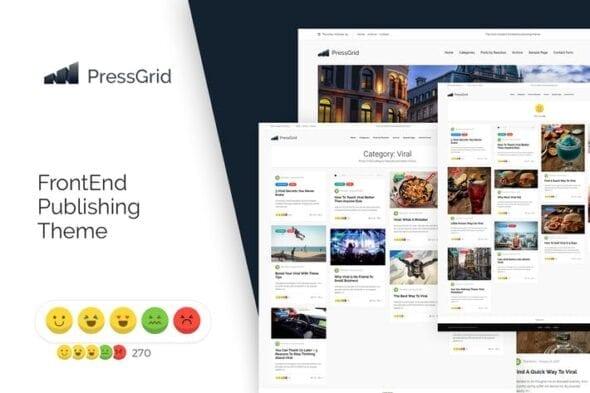قالب وردپرس چندرسانه ای PressGrid Frontend Publish Reaction & Multimedia