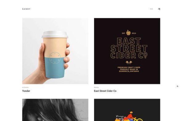 پوسته وردپرس پورتفلیو Sandy - Minimal Portfolio WordPress Theme