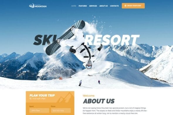 قالب وردپرس مدرسه اسکی Snow Mountain | Ski Resort & Snowboard School WP