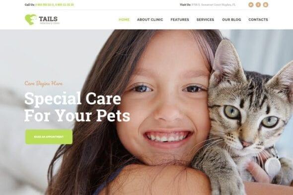 پوسته وردپرس کلینیک حیوانات Tails | Veterinary Clinic, Pet Care & Animal WP