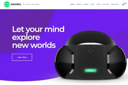 پوسته وردپرس واقعیت مجازی Weedles | Virtual Reality Landing Page & Store WP