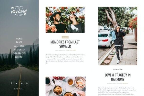 قالب وردپرس بلاگ شخصی Weeland - Masonry Lifestyle WordPress Blog Theme