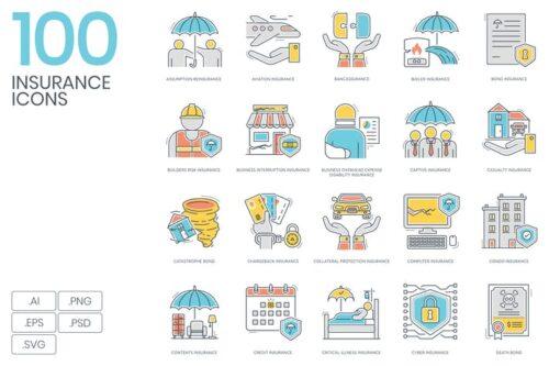 طرح لایه باز ست آیکون بیمه 100 Insurance Color Line Icons