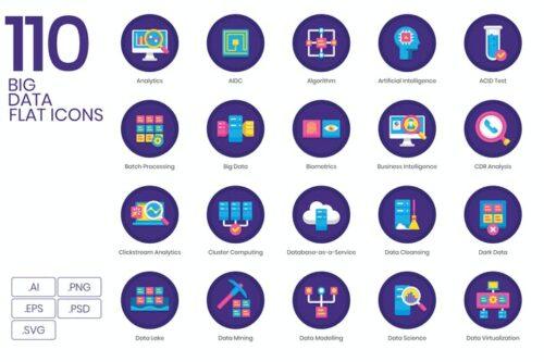طرح لایه باز ست آیکون بیگ دیتا| سری ارکید 110 Big Data Icons | Orchid Series