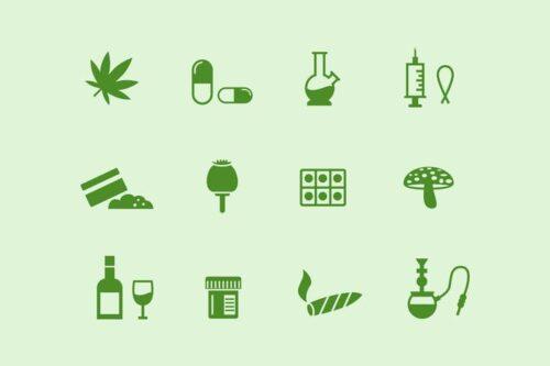 طرح لایه باز ست آیکون دارو و مواد مخدر 12 Drugs and Narcotics Icons