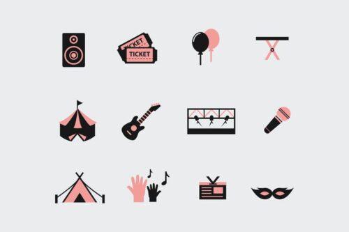 طرح لایه باز ست آیکون فستیوال و کنسرت 12 Festival and Concert Icons