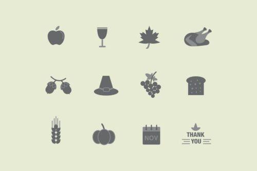 طرح لایه باز ست آیکون عید شکرگزاری 12 Thanksgiving Icons