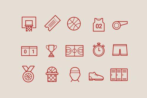 طرح لایه باز ست آیکون بسکتبال 15 Basketball Icons
