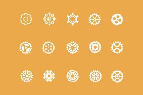 طرح لایه باز ست آیکون چرخ دنده 15 Cog Icons