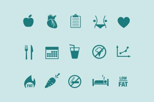 طرح لایه باز ست آیکون رژیم 15 Diet Icons