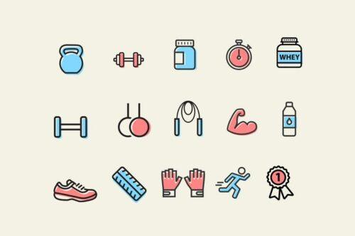 طرح لایه باز ست آیکون بدنسازی 15 Exercise and Muscle Icons