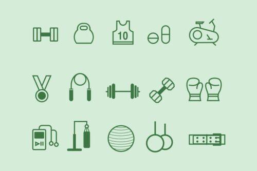 طرح لایه باز ست آیکون باشگاه ورزشی 15 Gym Icons