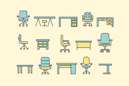 طرح لایه باز ست آیکون میز و صندلی 15 Office Desk and Chair Icons