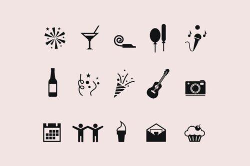 طرح لایه باز ست آیکون جشن و مهمانی 15 Party Icons