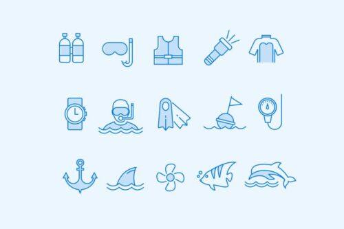 طرح لایه باز ست آیکون شنا و غواصی 15 Scuba and Diving Icons