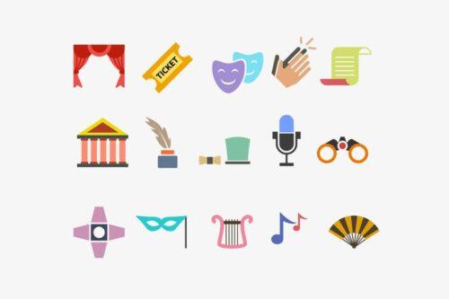 طرح لایه باز ست آیکون تئاتر 15 Theatre Performance Icons