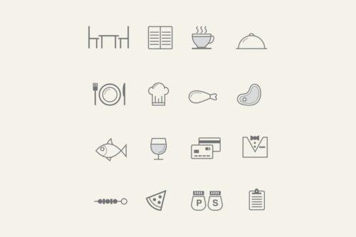 طرح لایه باز ست آیکون رستوران 16 Restaurant Icons