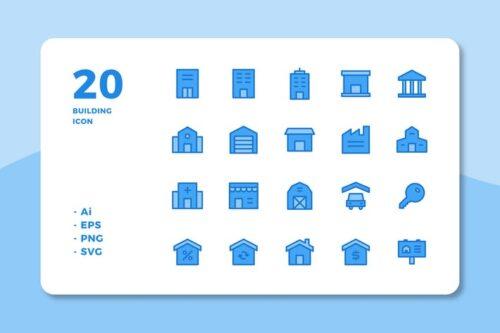 طرح لایه باز ست آیکون ساختمان 20 Building Icons (Lineal Color)