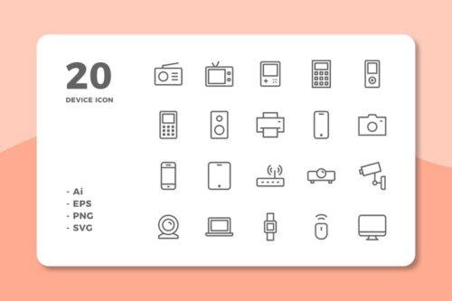 طرح لایه باز ست آیکون وسایل الکترونیکی و دیجیتال 20 Device Icons (Line)