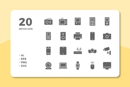 طرح لایه باز ست آیکون وسایل الکترونیکی 20 Device Icons (Solid)