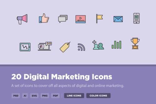 طرح لایه باز ست آیکون دیجیتال مارکتینگ 20 Digital Marketing Icons