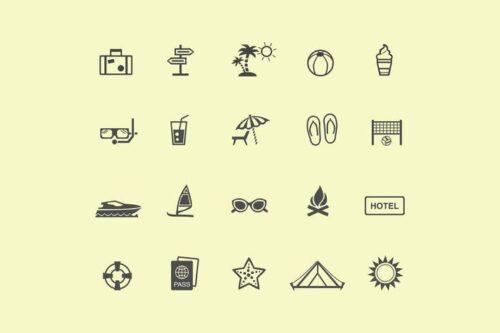 طرح لایه باز ست آیکون تعطیلات 20 Holiday and Vacation Icons