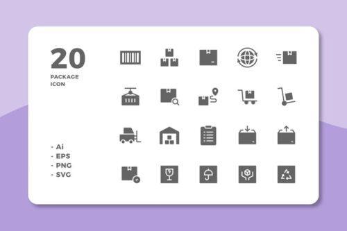 طرح لایه باز ست آیکون بسته و کارتن 20 Package Icons (Solid)