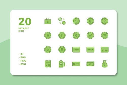 طرح لایه باز ست آیکون پرداخت 20 Payment Icons (Lineal Color)