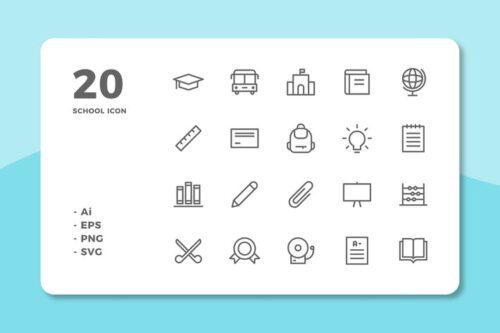 طرح لایه باز ست آیکون مدرسه 20 School Icons (Line)