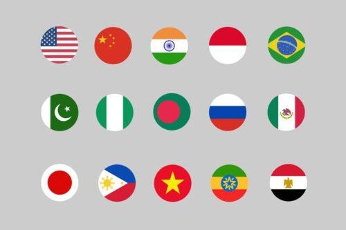 طرح لایه باز ست آیکون پرچم کشورها 30 Country Flag Icons