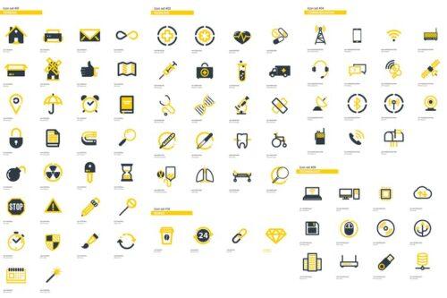 طرح لایه باز پکیج آیکون 300+ Flat Icons Package
