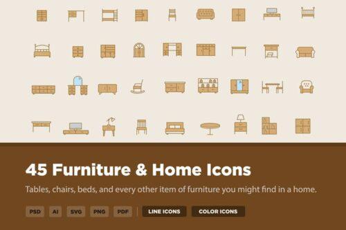 طرح لایه باز ست آیکون مبل و وسایل خانه 45 Furniture and Home Icons
