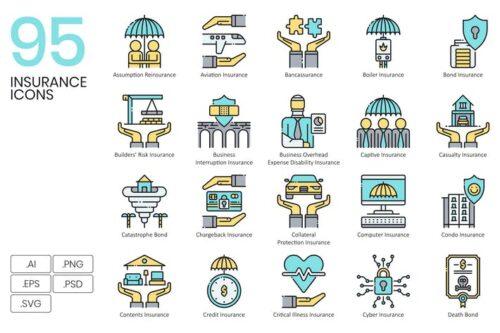 طرح لایه باز ست آیکون بیمه و سرمایه گذاری 95 Insurance Icons & Finance Icons