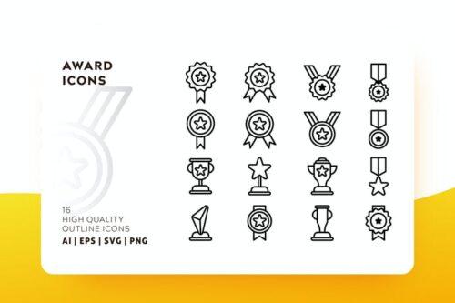 طرح لایه باز ست آیکون جایزه و مدال AWR AWARD OUTLINE