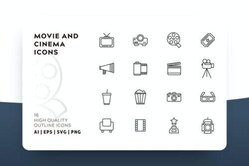 طرح لایه باز ست آیکون سینما AWR CINEMA OUTLINE