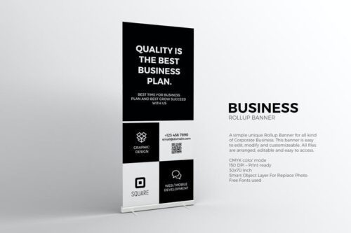 طرح لایه باز بنر سیاه و سفید تجاری Black and White Roll-up Banner