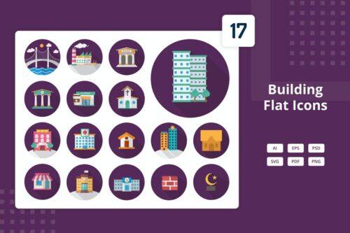 طرح لایه باز ست آیکون ساختمان Building - Flat Icons