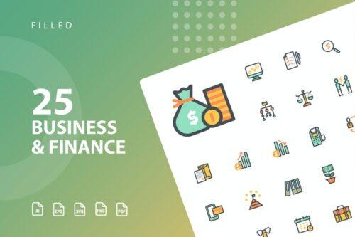 طرح لایه باز ست آیکون تجارت و سرمایه گذاری Business & Finance Filled