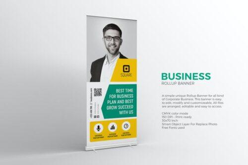 طرح لایه باز بنر تجاری Business Roll-up Banner