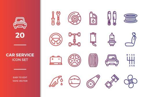 طرح لایه باز ست آیکون مکانیکی و سرویس خودرو Car Service Icons Collection