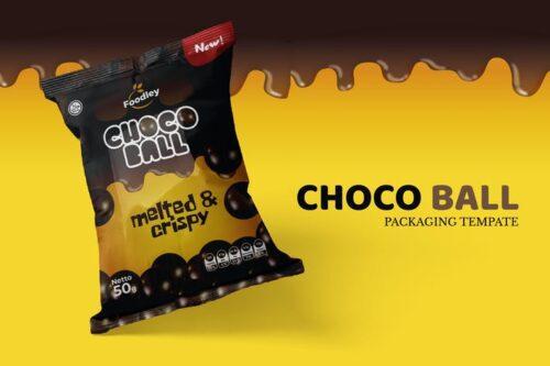 طرح لایه باز بسته بندی اسنک توپی شکلاتی Choco Ball Snack Packaging Template