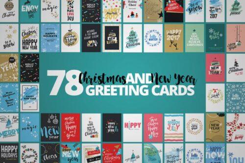 طرح لایه باز کارت تبریک کریسمس Christmas Cards Mega Set