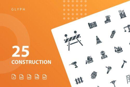 طرح لایه باز ست آیکون ساختمان Construction Glyph