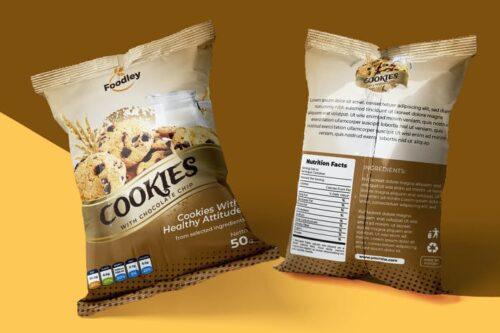 طرح لایه باز بسته بندی کوکی Cookies Packaging Design Template