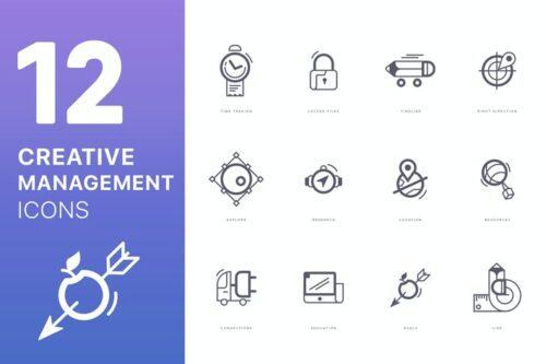 طرح لایه باز ست آیکون مدیریت Creative Management Icons