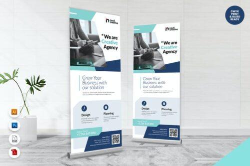 طرح لایه باز بنر شرکتی تجاری Creative Roll Up Banner AI & PSD Template Vol.22