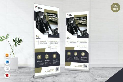طرح لایه باز بنر شرکتی تجاری Creative Roll Up Banner AI & PSD Template Vol.37